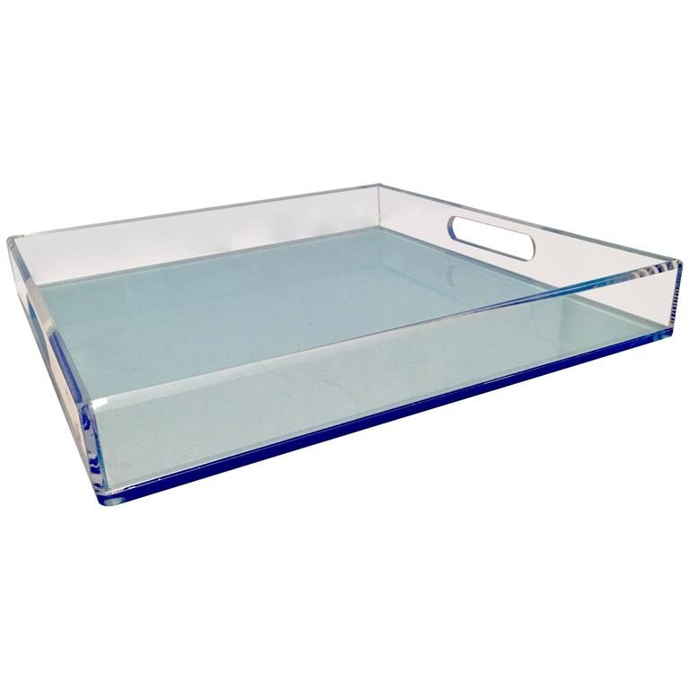 21st Century Modern Custom Made Lucite Two-Tone Cut-Out Handle Tray