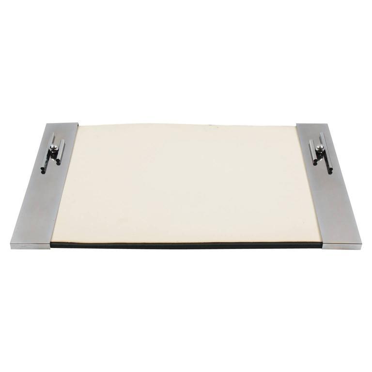 french art deco modernist chrome desk blotter pad circa. Black Bedroom Furniture Sets. Home Design Ideas