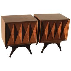 Albert Parvin Sculptural Diamond Front Nightstands for American of Martinsville