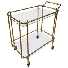 1970s Aged Brass and Glass Bar Cart