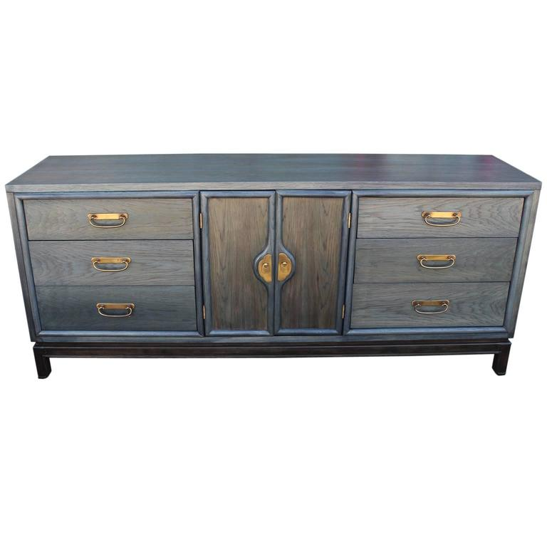 Blue Aniline Dye Modern Dresser with Brass Hardware with Nine Drawers For  Sale