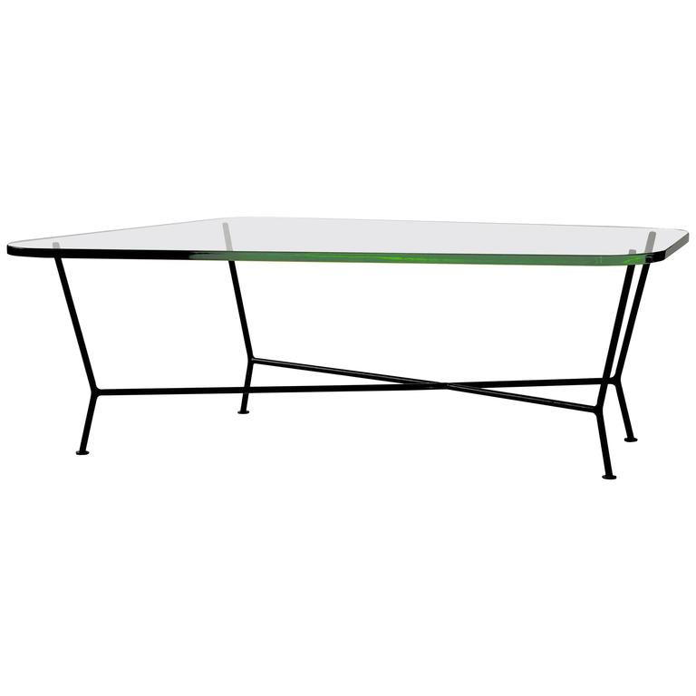 unique green glass and wrought iron coffee table for sale at 1stdibs. Black Bedroom Furniture Sets. Home Design Ideas