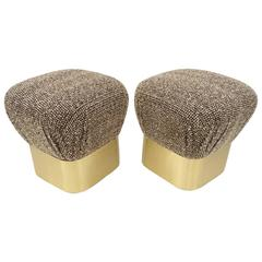 Pair of Brush Brass and Fabric Poufs by J. Robert Scott