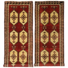 Pair of Vintage Turkish Oushak Runners with Art Deco Style