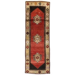Vintage Turkish Oushak Runner with Mid-Century Modern and Medieval Style