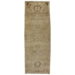 Vintage Turkish Oushak Gallery Rug, Wide Hallway Runner with Warm, Neutral Color