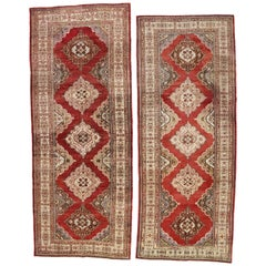Pair of Vintage Turkish Oushak Carpet Runners with Traditional Modern Style