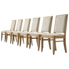 Set of Six Art Deco Dining Chairs in Cerused Oak