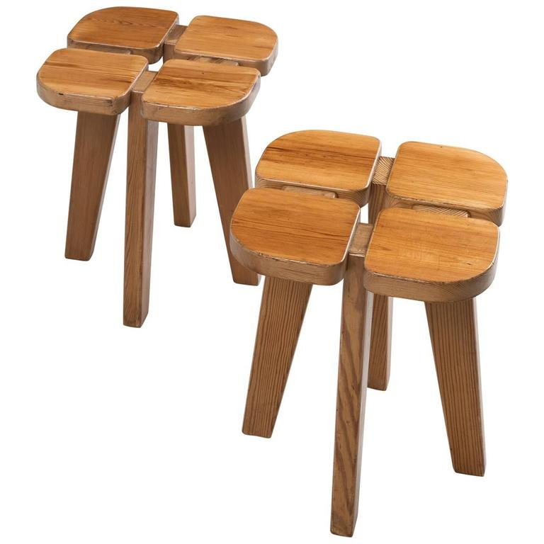 Lisa Johansson Pape Set Of Two Stools In Solid Pine For