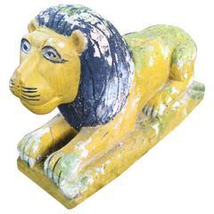 Polychromed Sculpted Stone Lion, circa 1950