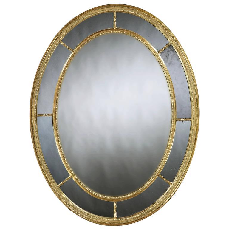 Large George III Oval Giltwood Mirror