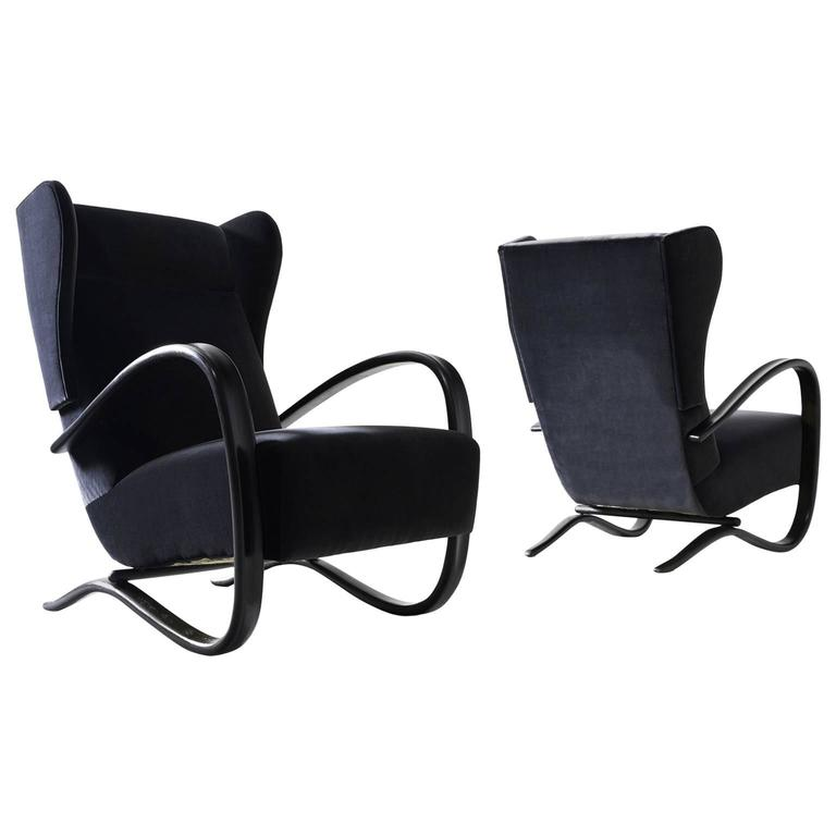 Jindrich Halabala Pair of Reupholstered Wingback Lounge Chairs For Sale