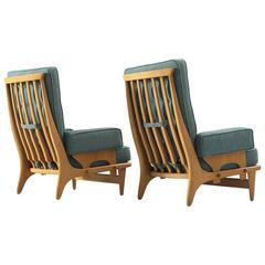 Guillerme & Chambron Set of Two High Back Lounge Chairs in Oak