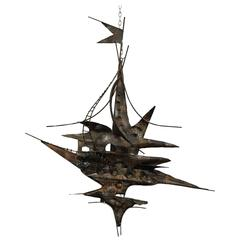 Brutalist Metal Wall Sculpture Curtis Jere Style