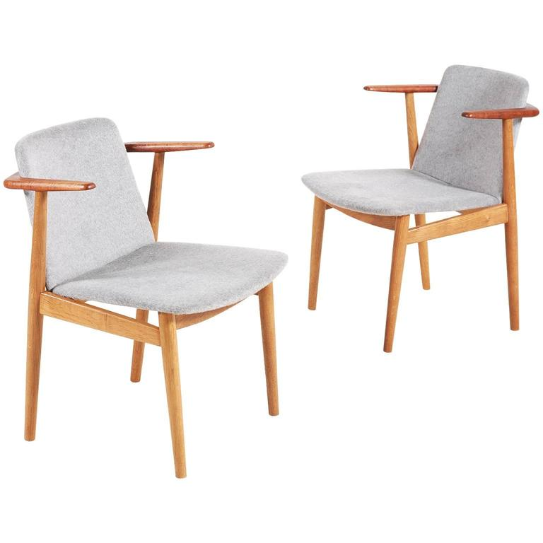 Hans Olsen Pair of Teak and Oak Chairs, 1950s