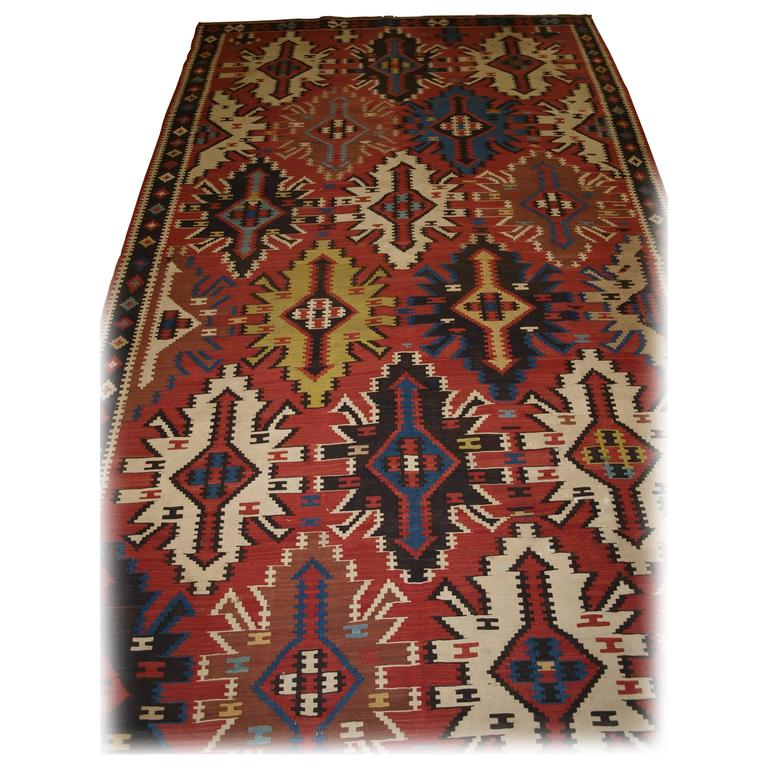 Old East Caucasian Avar Kilim Of Outstanding Color And