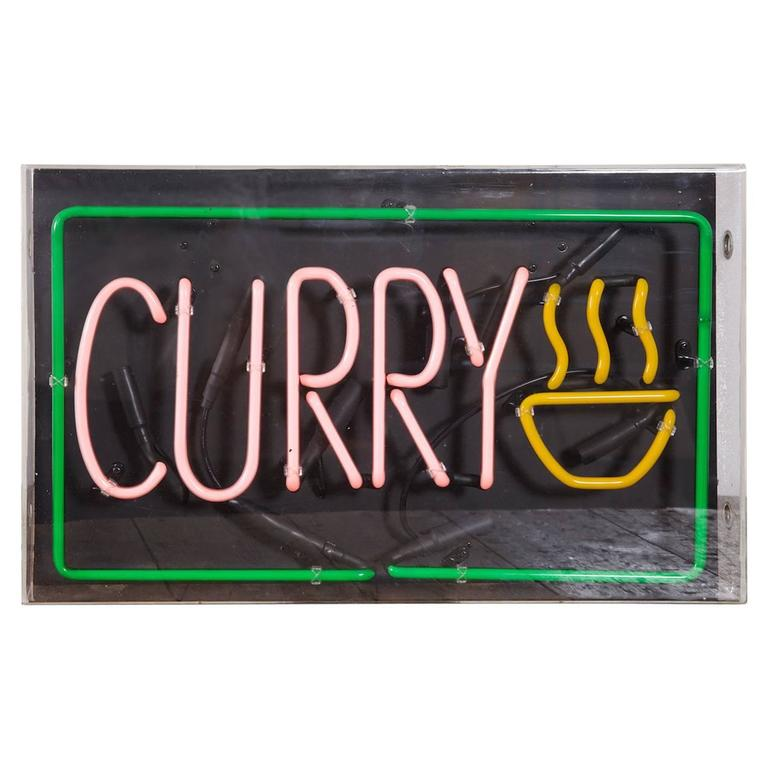 Neon Curry Shop Sign At 1stdibs