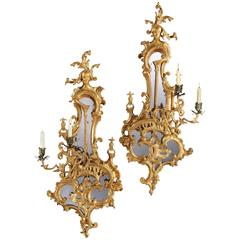 Pair of George III Giltwood Twin Light Girandoles Designed by Thomas Johnson