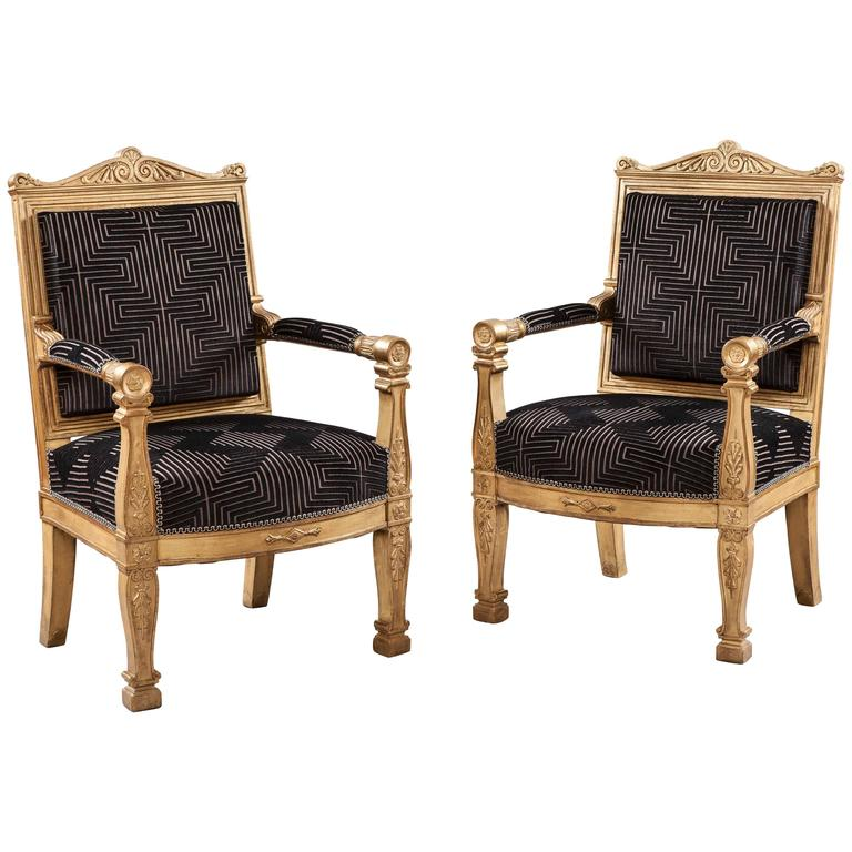 Pair of 19th Century French Giltwood and Black Velvet Armchairs  For Sale
