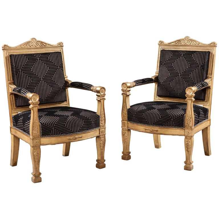 Pair of 19th Century French Giltwood and Black Velvet Armchairs