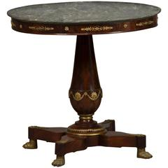 Elegant and Decorative Empire Saloon Table in Mahogany with Gray Marble Top