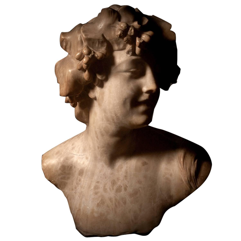 Ecstatic Bacchanalian figure in alabaster by Jef Lambeaux, early 20th century