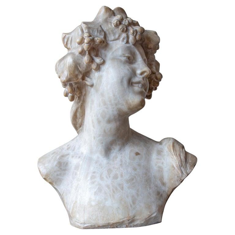 An Ecstatic Bacchanalian figure in alabaster by Jef Lambeaux, early 20th century For Sale