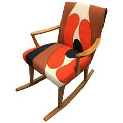 Beautiful Danish Rocking Chair Marie Menko Fabric, circa 1970