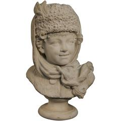 Antique Marble Sculpture of Russian Boy