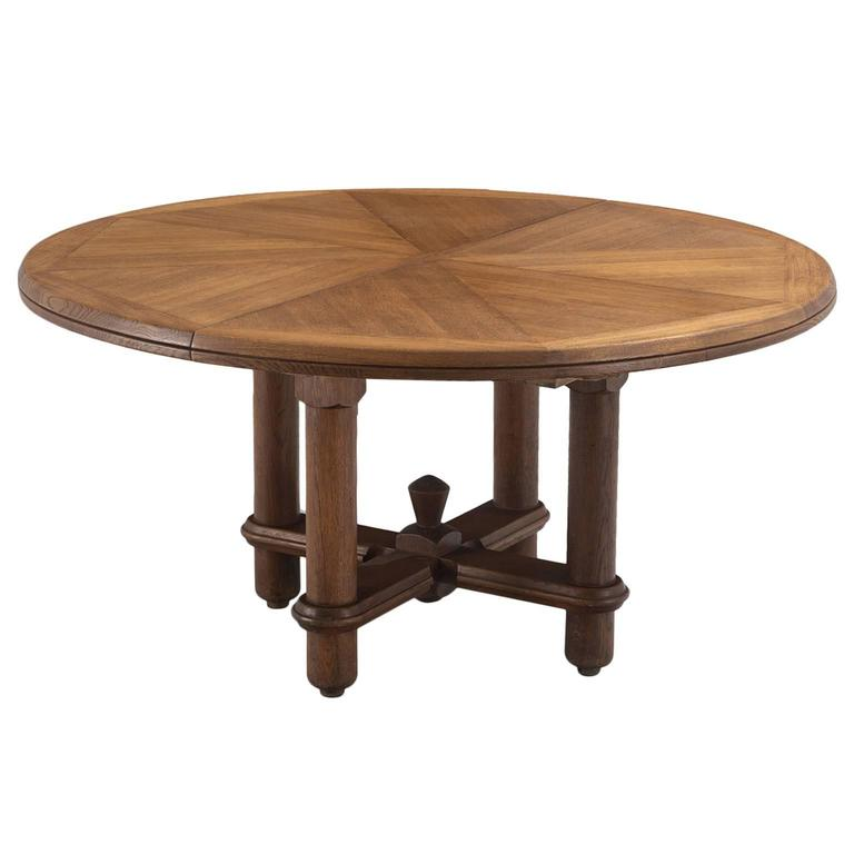guillerme and chambron extendable round dining table in oak for sale