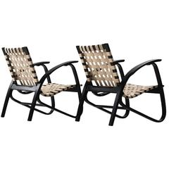 Jan Vanek Pair of Easy Chairs with New Straps Upholstered