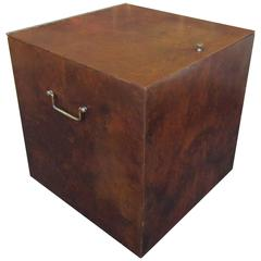 Unusual Burl Wood LP or Record Storage Box by Directional for Calvin Furniture