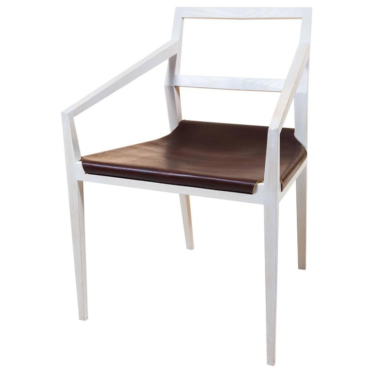 Bleached Ash Solid Wood Chair With Slung Leather Seat