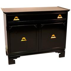 Pagoda Form Black Lacquer with Brass Cabinet in the Style of James Mont