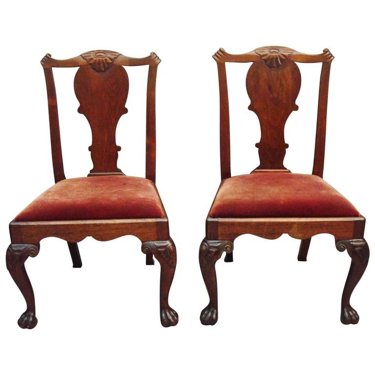 George II Pair of Irish Walnut Side Chairs