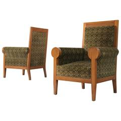 Pair of Italian High Back Armchairs in Green Fabric Upholstery
