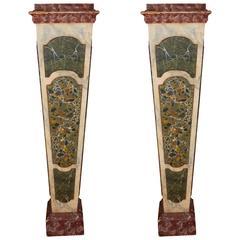 Pair of Faux Marble Trompe L'oeil Pedestals