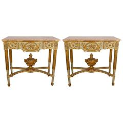 Pair of Portuguese Louis XVI Style Parcel-Gilt and Polychrome Painted Console