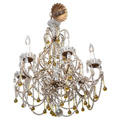 Vintage Venetian Glass and Gilt Metal Chandelier