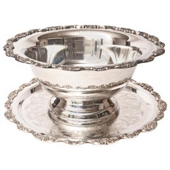 Impressive Silver Plate Punch Bowl and under Tray, American Vintage