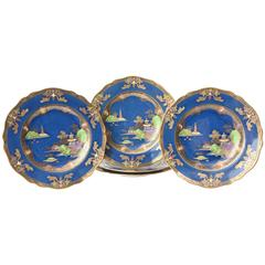 Chinoiserie Design, Spode England, Crushed Lapis and Hand Enameled Plates