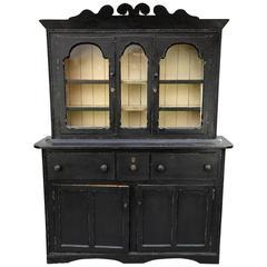 19th Century Georgian Irish Black Glazed Dresser w/ Primitive Carved Pediment