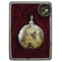 Japanese Antique Silver Chrysanthemum Perfume Bottle and Original Box