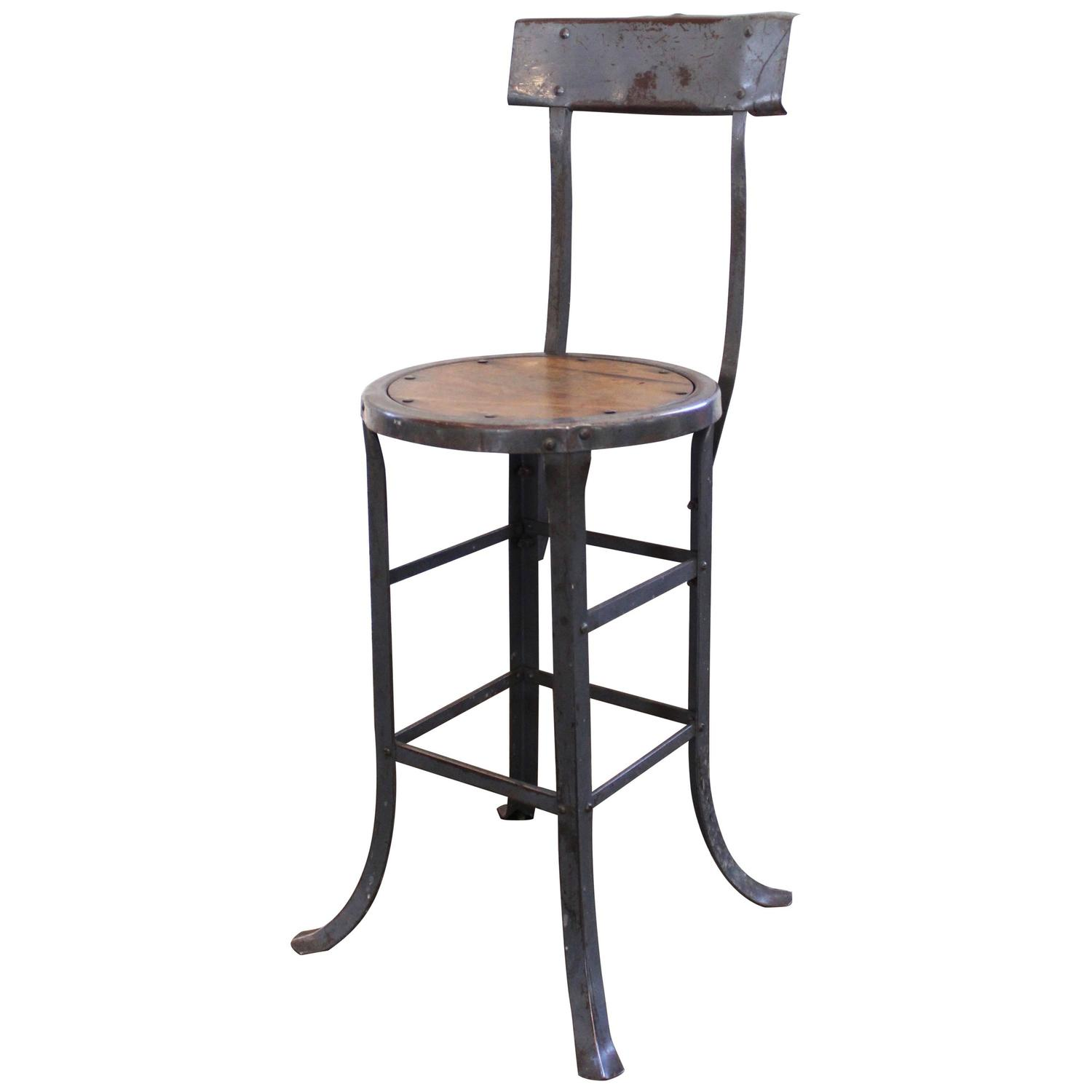 Vintage Industrial Rustic Wood And Metal Bar Kitchen Island Stool With Back For Sale At 1stdibs