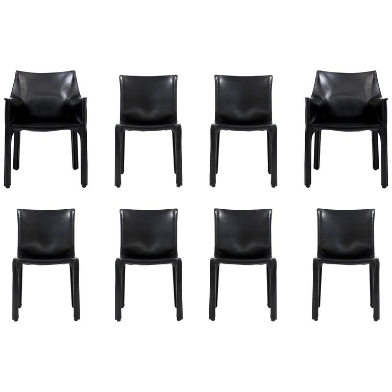 Eight CAB Dining Chairs By Mario Bellini For Cassina 1