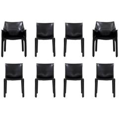 Eight CAB Dining Chairs by Mario Bellini for Cassina