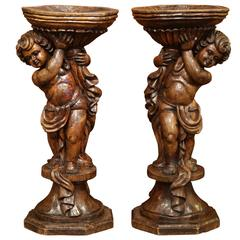 Tall Pair of 18th Century French Hand-Carved Walnut Plant Stands with Cherubs