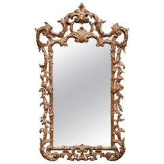 Mid-20th Century, Italian Carved Silver Leaf Wall Mirror with Smoked Glass