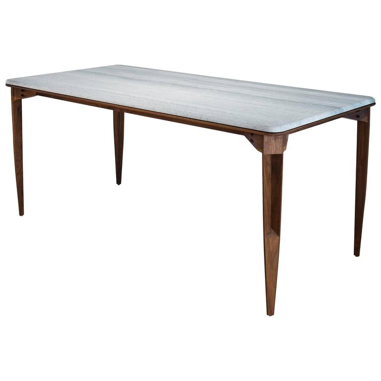 Contemporary Brindle Dining Table, Walnut wood, Honed Marble Top from CBR Studio