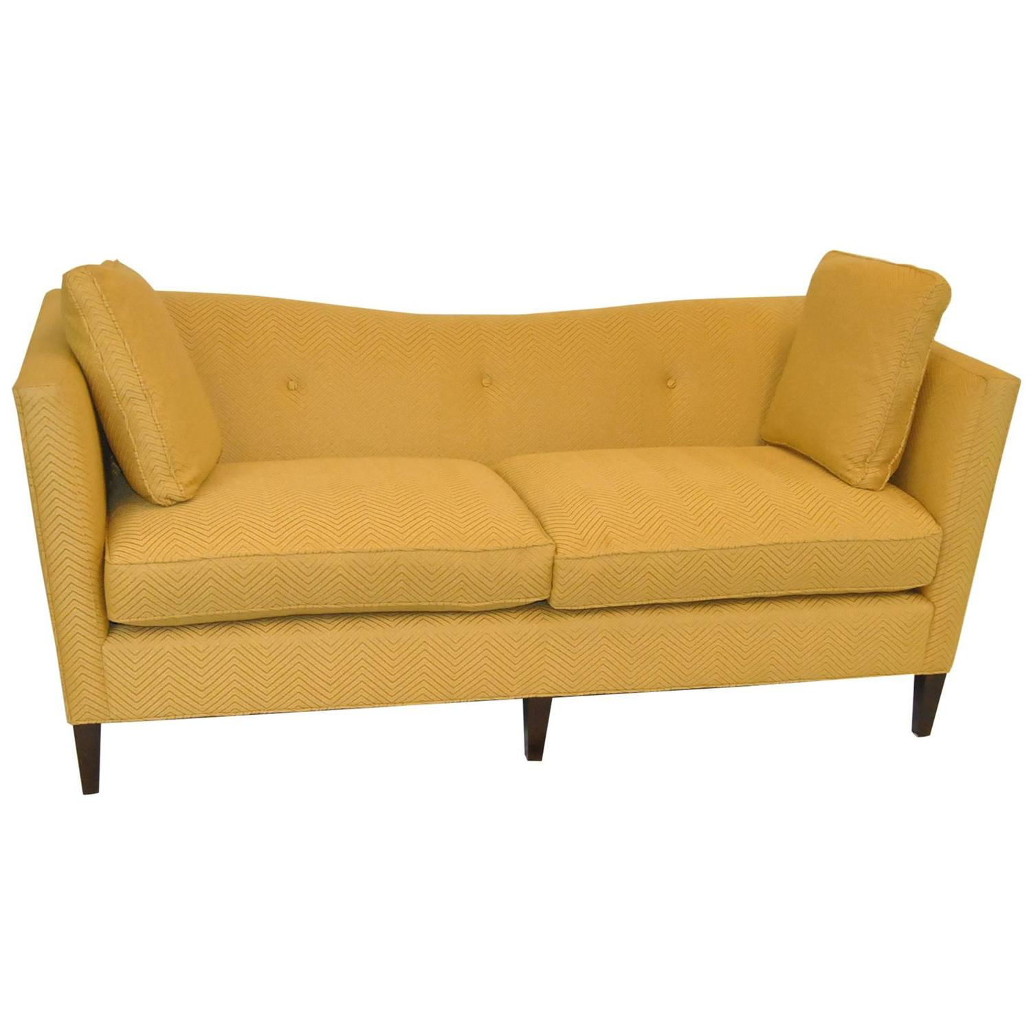 French Tuxedo Butter Yellow Sofa by Baker Furniture, Baker Classic Collection For Sale at 1stdibs